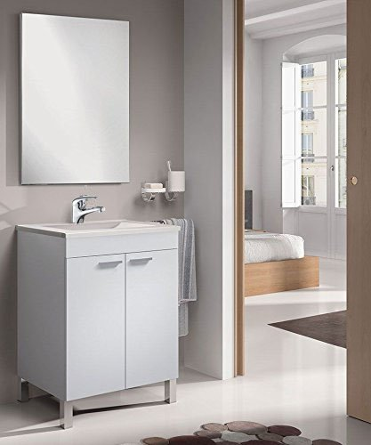 Mueble Baño 60CM con Grifo + Espejo + Lavabo, Mod Denise (latiguillos...