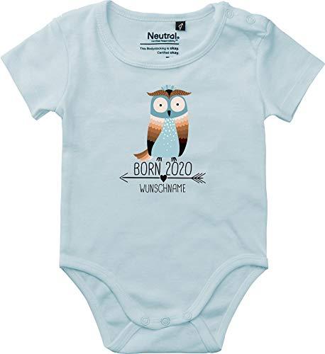Baby Body Vintage Kleckerliese Sprüche joven niña manga corta con diseño Born 2020 animales diseño flecha nombre animales búho Uhu Wunschname azul claro 74 cm