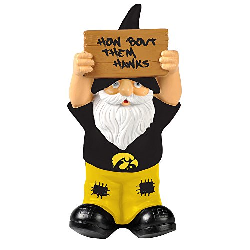 Elite Fan Shop Iowa Hawkeyes Garden Gnome - Black