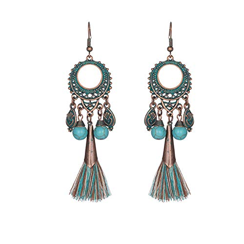 Sunwd Mujer Pendientes, Antique Vintage Bohemian Ethnic Tassel Fringe Leaf Stones Earrings For Women Girls Anniversary Wedding Party Jewelry Charms E020310