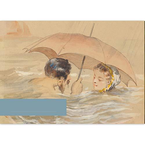4 DIN A3 Malblöcke Kunst Motiv Alfred Grévin: Die Badenden mit Regenschirm • Malblock Zeichenblock Skizzen-Block 25 Blatt blanko, kopfverleimt, Papier 100g/m² - für Schule, Basteln, Hobby