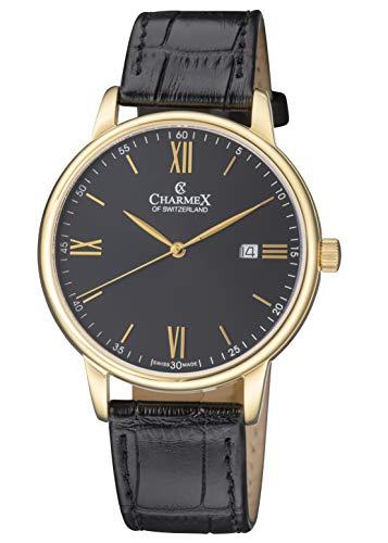Charmex Amalfi CX-3027 - Orologio da uomo con cinturino in pelle e vetro...