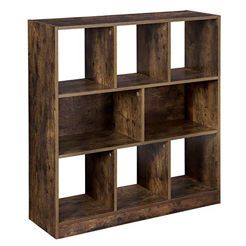 VASAGLE Bücherregal, Standregal aus Holz mit offenen Fächern, Vitrine für Wohnzimmer, Schlafzimmer, Kinderzimmer und Büro, 97,5 x 30 x 100 cm (L x B x H), Vintage, Dunkelbraun LBC52BX