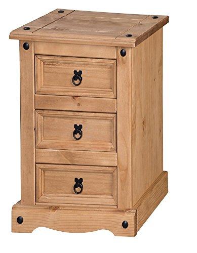 Mercers Furniture Corona-Comodino a 3 cassetti, stretto, in legno, colore: legno di pino