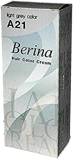BERINA PERMANENT HAIR DYE COLOR CREAM #A21 Light Grey COOL HOT CREZY FASHIONS
