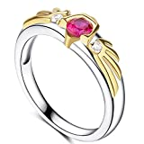 Zelda 18K Gold Plated Sterling Silver Ring Ocarina of Time Link Hylian Shield, Goron Ruby Inspired for Women Size 8
