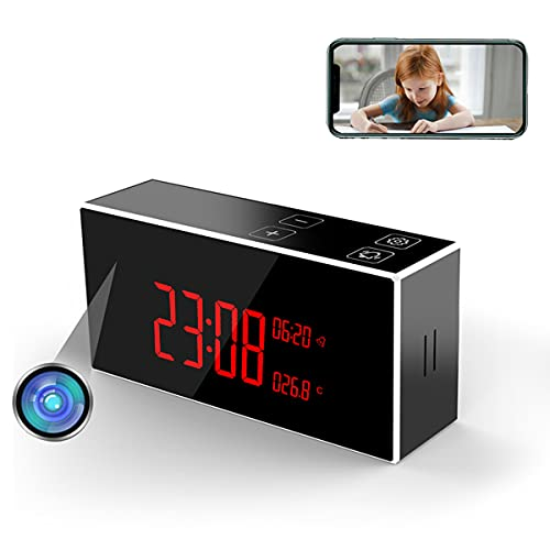 Hidden Camera Clock 1080P WiFi Spy Cameras Nanny Cam Small Spy Cam Alarm Clock with Night Vision and Motion Detection Phone App 160 Wide Angle Secret Camera for Pet Home and Office and Indoor