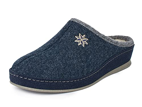 Schawos Filz Hausschuh für Damen, Qualitäts-Pantoffel, mit anatomisch geformtem Fußbett und aktiver Fersendämpfung, Modell: Lisa (38 EU, Marine, numeric_38)