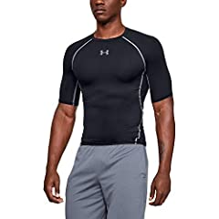 HeatGear fabric, with all the benefits of UA Compression, comfortable enough to be worn all day Stretch-mesh underarm panels deliver strategic ventilation UPF 30 protects your skin from the sun's harmful rays 4-way stretch construction moves better i...