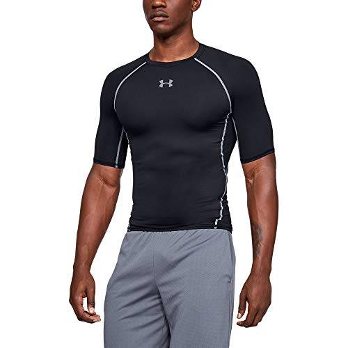 Under Armour Herren UA HeatGear Short Sleeve langärmliges Funktionsshirt, atmungsaktives Langarmshirt für Männer, Schwarz (Black/Steel (001), Large