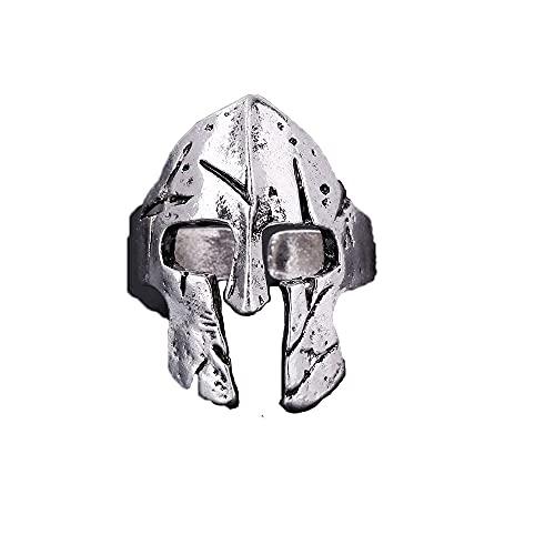 Anillo de guerrero retro, máscara espartana, anillo de casco de roca para hombre, joyería exagerada, anillo de Color dorado y plateado, regalo