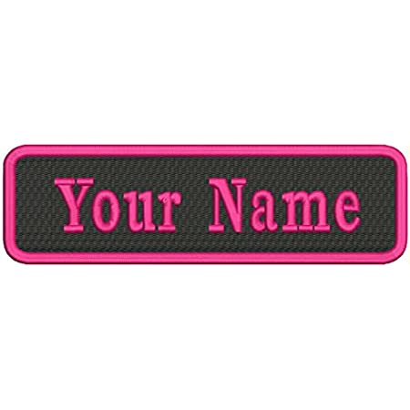 Rectangle Nametag Name Patch Frame BlackHot Pink Personalized Sparkle Glitter Patch GL268 Iron or Sew on Vinyl NO GLITTER MESS