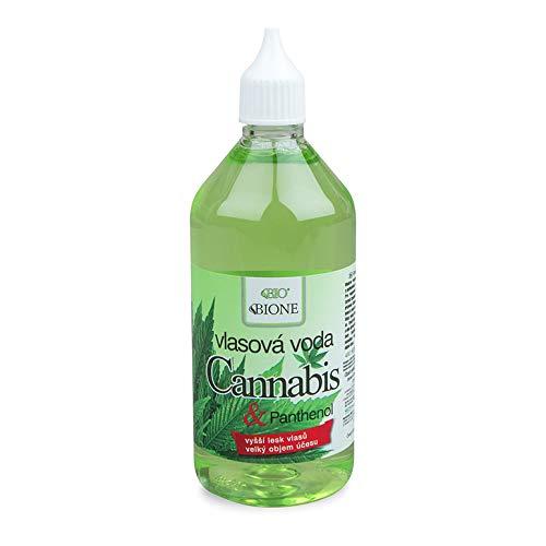 BIONE Tónico para el cabello orgánico con cannabis y pantenol sin aceite mineral, siliconas, parabenos, 215 ml.