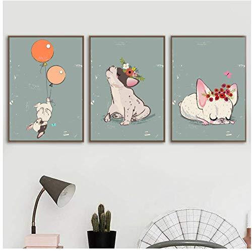 A&D muurkunstwerk druk canvas schilderij Nordic cartoon Franse bulldog ballon poster modulaire afbeeldingen kinderen slaapkamer huis decoratie 50x70cmx3pcs-geen lijst