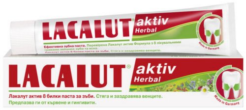 2 x Lacalut Aktiv Herbal Medical Toothpaste 75ml Stops Bleeding