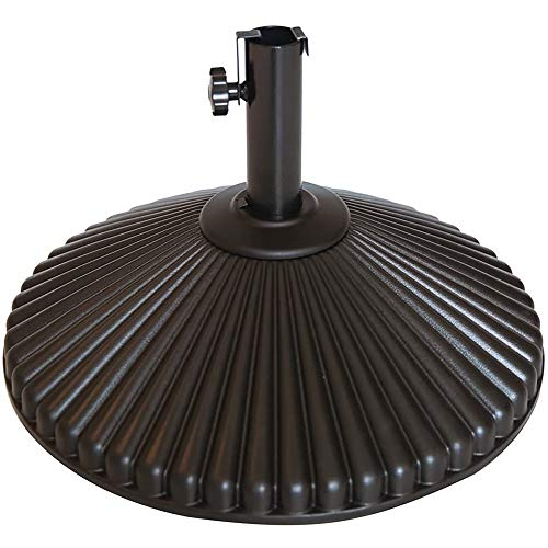 Abba Patio 50lb Patio Umbrella Base Water Filled 23' Round Recyclable Plastic Outdoor Market Umbrella Stand Base for Deck, Lawn, Garden, Brown