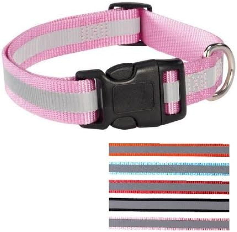 FunnyDogClothes Dog Pet Puppy Safety Reflective Collar Glow Nylon (Pink, S M  Neck 12   18 )