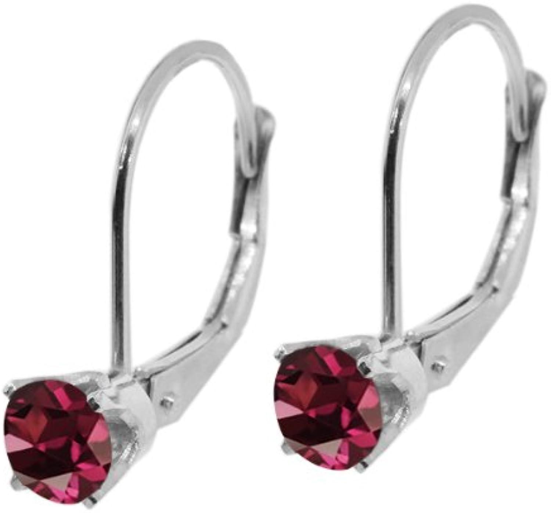 0.44 Ct Round Red Rhodolite Garnet 14K White gold Earrings