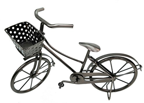 Bicicletta decorativa con cestino in metallo, soprammobile, idea regalo