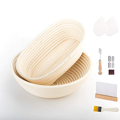 10 inch Bread Proofing Basket Set of 2, Round and Oval Bread Banneton Proofing Basket With Bread Lame, Dough Scraper, Brush, Sourdough Proofing Basket Set, Perfect Bread Proofing Basket Set for Bakers