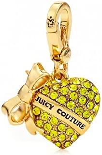 Yellow Pave Rhinestone Heart with Bow Banner Charm