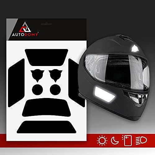 Autodomy Pegatinas Reflectantes Casco Moto Moteros Moteras Pack 9 Unidades para Moto Diseño Sport (Negro Reflectante)