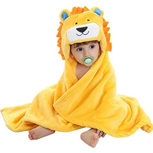 VLUNT Albornoz de Bebé Encapuchado Niños Albornoz Baño Infantil Manta Sin Mangas Algodón Albornoz Recién Nacido Toalla para Niña Niño 24 Meses (Amarillo)