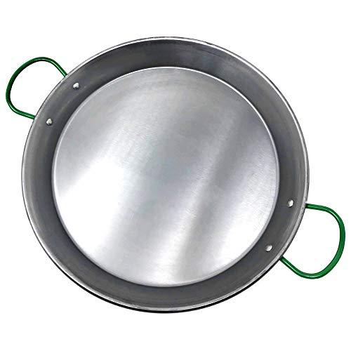 MGE - Paellera - Asas en Verde - Acero Pulido - Inducción/Vitro - Ø 34 cm - Hecho...