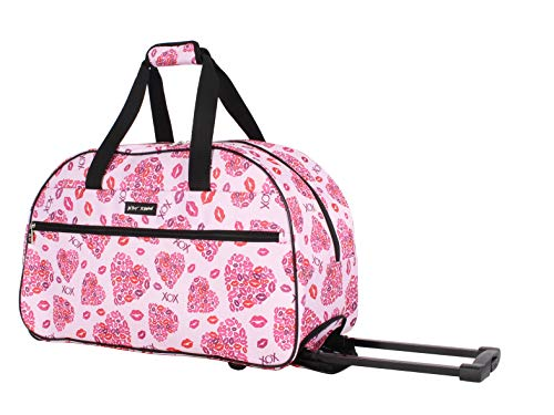 Betsey Johnson Designer Carry On Luggage Collection - Lightweight Pattern 22 Inch Duffel Bag- Weekender Overnight Business Travel Suitcase with 2- Rolling Spinner Wheels (Lips XOX)