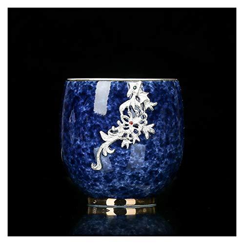 Juego de té 80 ml de cerámica taza de té de plata Dragón Decoración de té taza de té Master Copa China Kung Fu Conjunto de té Craft Decoración del hogar Regalo Juego de té portátil ( Color : H )