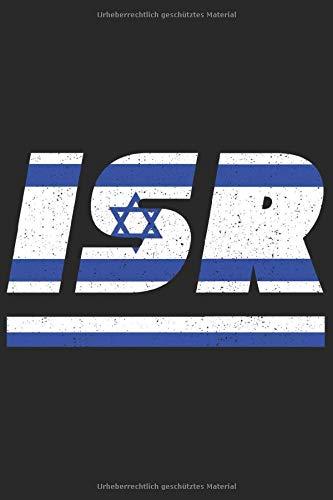 ISR: Israel Notizbuch mit karierten 120 Seiten in weiß. Notizheft mit der israelischen Flagge