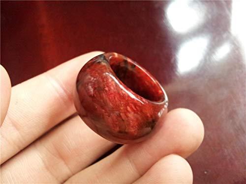 ShAwng Anillo de Jade Natural Anillo de Piedra de Sangre de Piedra roja Anillo de Jade para Hombre, 7.5
