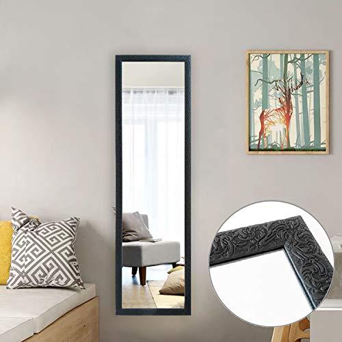 AUFHELLEN Großer Spiegel 127x35.5cm Wandspiegel im Barock-Stil mit Gemustert Schwarz Rahmen HD Ganzkörperspiegel mit Haken und Rückwand für Tür, Wohn-, Schlaf- und Ankleidezimmer (Schwarz)