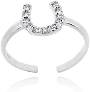 Glitzs Jewels Sterling Silver Cubic Zirconia Horseshoe Toe Ring