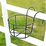 QKFON Portavasi da Appendere in Ferro, per balconi, recinzioni, per Esterni, Colore: Nero/Bianco (Black, L)