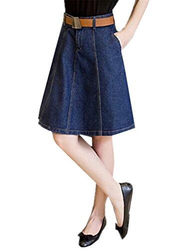 AILIENT Damen Jeans Rock Denim Skirt Jeansrock Minirock Stretch-Denim Streetwear Slim-Fit Hohe Taille A-Line Schwingen Reifrock Kein Gürtel