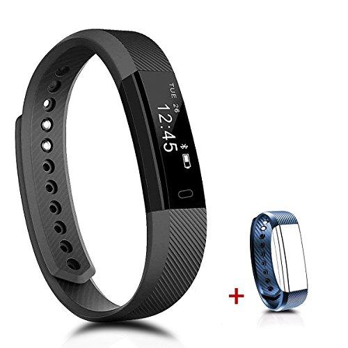 PINGKO Fitness-Tracker, Herzfrequenzmesser, Wasserdicht, Aktivitäts-Tracker, Schrittzähleruhr, tragbare Anruf-Erinnerung, Schlafmonitor mit Touchscreen Smart-Armband für Android iOS Handy.
