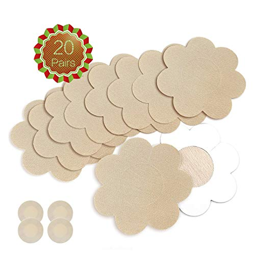 Nipple Breast Covers, Sexy Breast Pasties Adhesive Bra Disposable (20 Pairs Flower/2 Round)