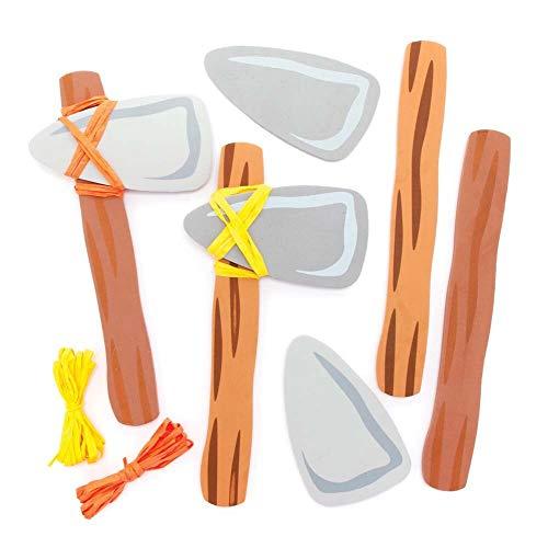 Baker Ross FE452 Steinzeit Axt Moosgummi Bastelset - 4er Pack, Spielzeug Axt für Kinder zum Basteln, Schaumstoff Spielset für Kinder
