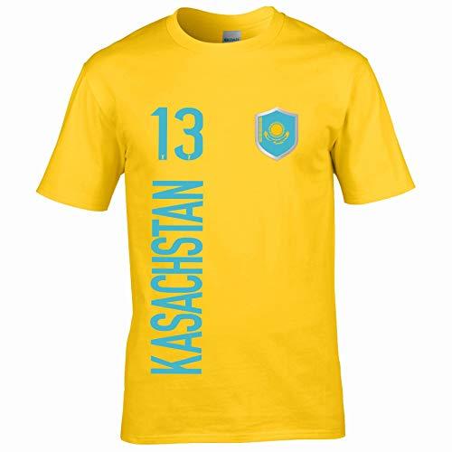 FanShirts4u Herren Fan-Shirt Jersey Trikot - KASACHSTAN - T-Shirt inkl. Druck Wunschname & Nummer WM EM (S, KASACHSTAN/gelb)
