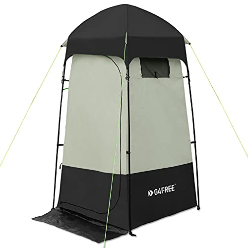 G4Free Camping Shower Tent, Privacy Tent Dressing Changing Room, Portable Toilet, Rain Shelter for Camping Beach with Carry Bag (Black)