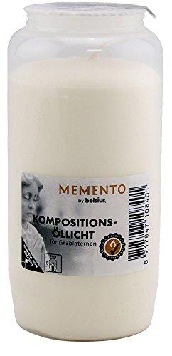 Bolsius Kompositionsöllicht Nr. 7, 24er Pack Memento - Grabkerzen, Grablicht - Brenndauer ca. 105 Stunden (Memento - weiß)