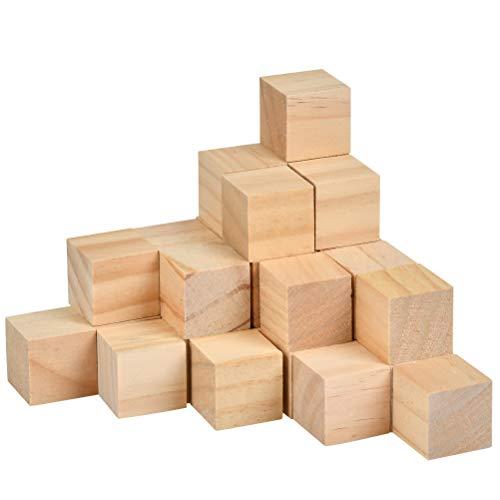 TIMESETL 30Stück Holzwürfel 3x3cm Bastelwürfel, Natürlich Unfertige Holzblöcke - Puzzle Holzwürfel Blanko Deko Holz Basteln Holz Quadrat Würfel zum Basteln Bemalen DIY Handwerk Dekoration