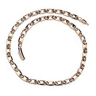 Men Womens Rose Gold Pure Titanium Magnetic Therapy Chain Necklace for Neck Arthritis Headaches Relief