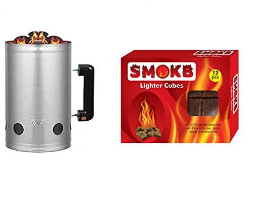Best offer : Charcoal Chimney Starter And Fire Starter Blocks Lighter Cubes(12 Cubes)