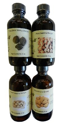 OliveNation Set of 4 Nut Extracts - Set of 4 x 4 ounces bottles - pistachio, almond, hazelnut, black walnut - baking-extracts-and-flavorings