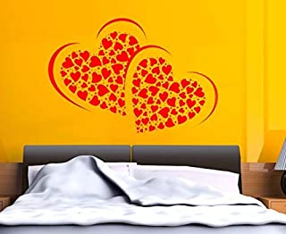 Paper Plane Design Pink PVC Vinyl Symbol of Love with Many Hearts Wall Sticker (PVC Vinyl, 70 cm x 50 cm)