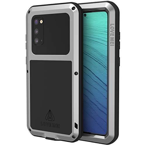 Love Mei Funda para Samsung Galaxy S20, a prueba de golpes, carcasa de metal compatible con carga inalámbrica de cuerpo completo, resistente S20 con protector de pantalla
