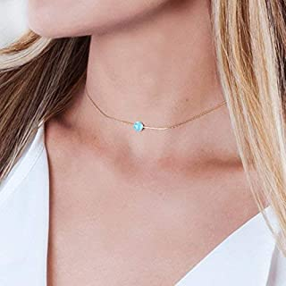 Designer Handmade Thin Gold Filled Choker Necklace With Blue Opal Ball - 13.5 inch + 3 inch Extender