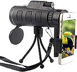 Monocular 40x60 BAK4 Telescopio monocular de alta potencia resistente al agua con poca luz, telescopio monocular, potente telescopio para teléfono inteligente con soporte para teléfono inteligente
